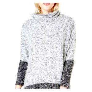 Bar III Cowl Neck Boucle Color Block Sweater